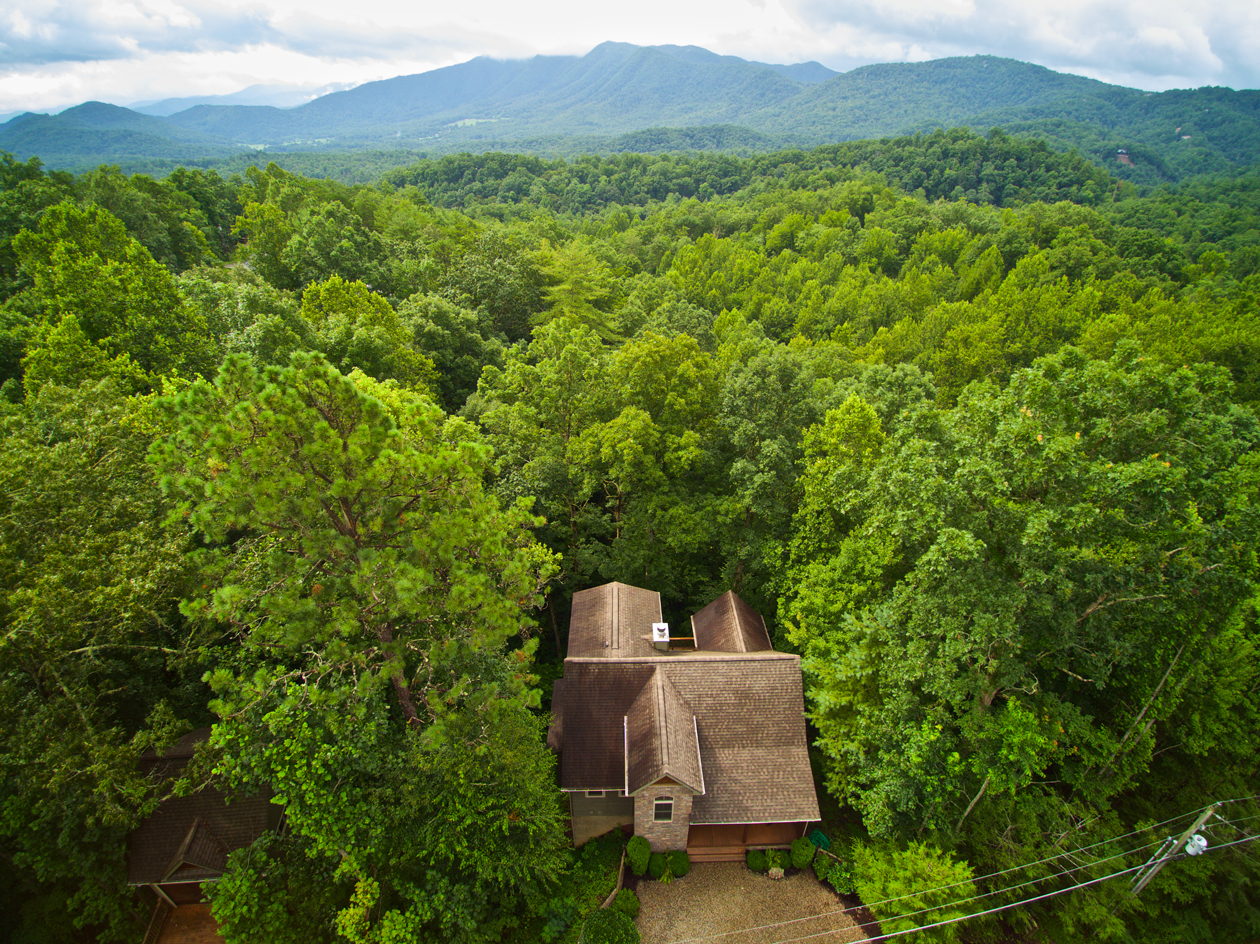Townsend cabin drone photography